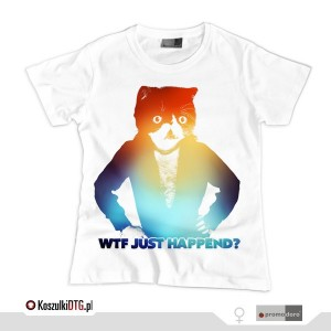 WTF just happend? *rainbow*white* (t-shirt damski)