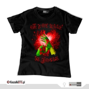 All you need is GLOVES *black* (t-shirt damski)